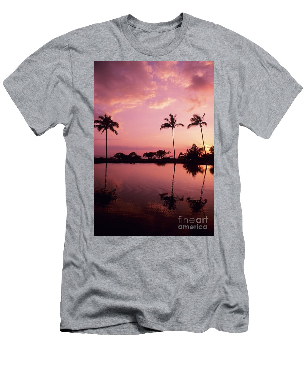 Beach Men's T-Shirt (Athletic Fit) featuring the photograph Palms At Still Lagoon by Carl Shaneff - Printscapes