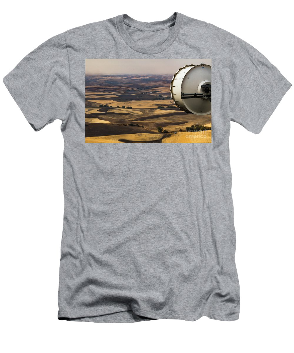 Agriculture Men's T-Shirt (Athletic Fit) featuring the photograph Palouse Farmland #4 by Dan Hartford