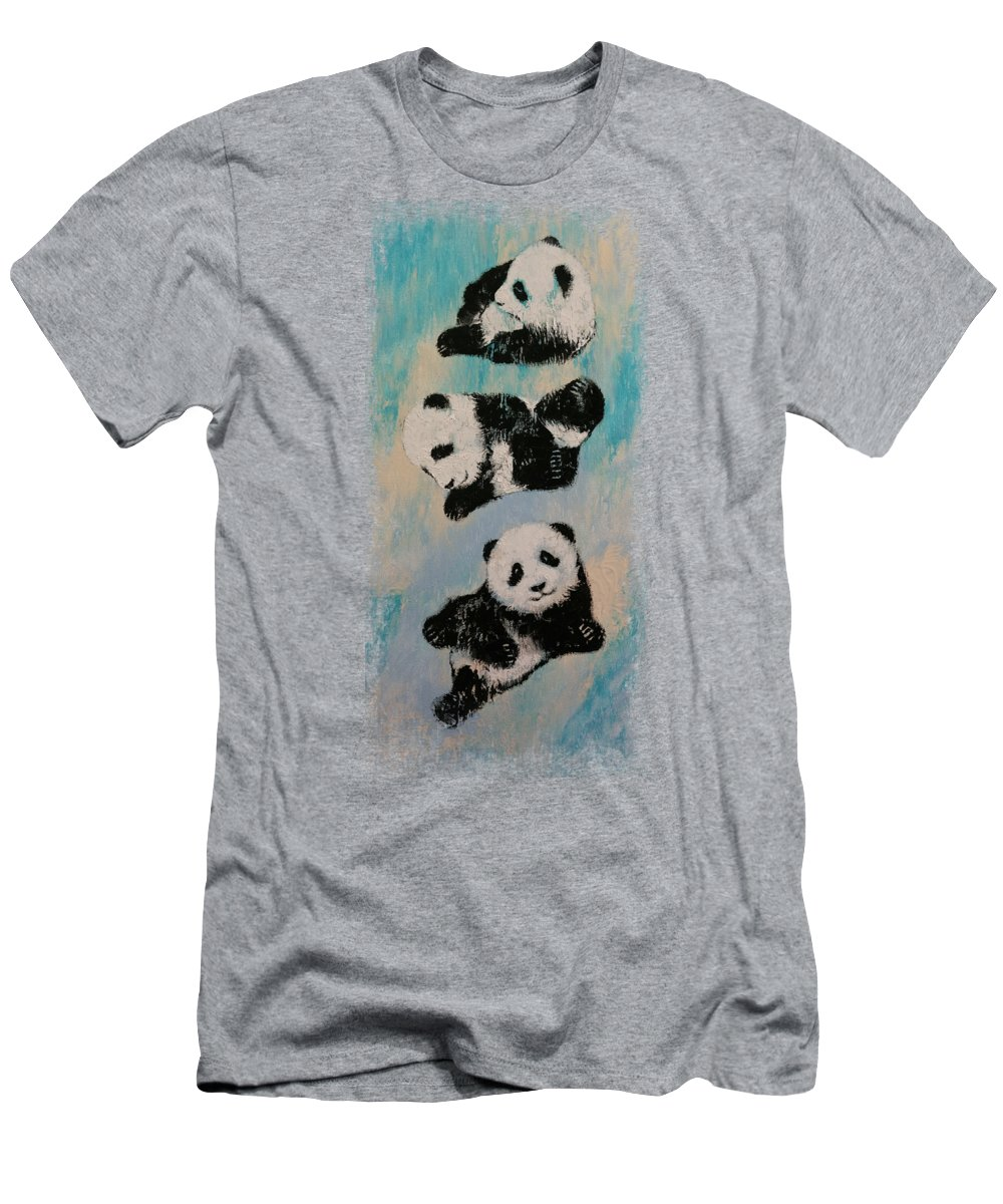 Children T-Shirt featuring the painting Panda Karate by Michael Creese