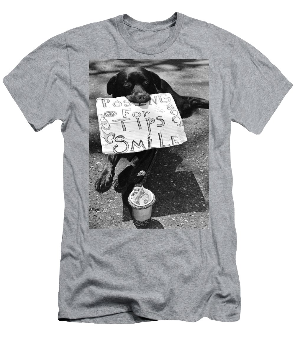 Dog Men's T-Shirt (Athletic Fit) featuring the photograph Panhandling Pooch. by Spirit Vision Photography