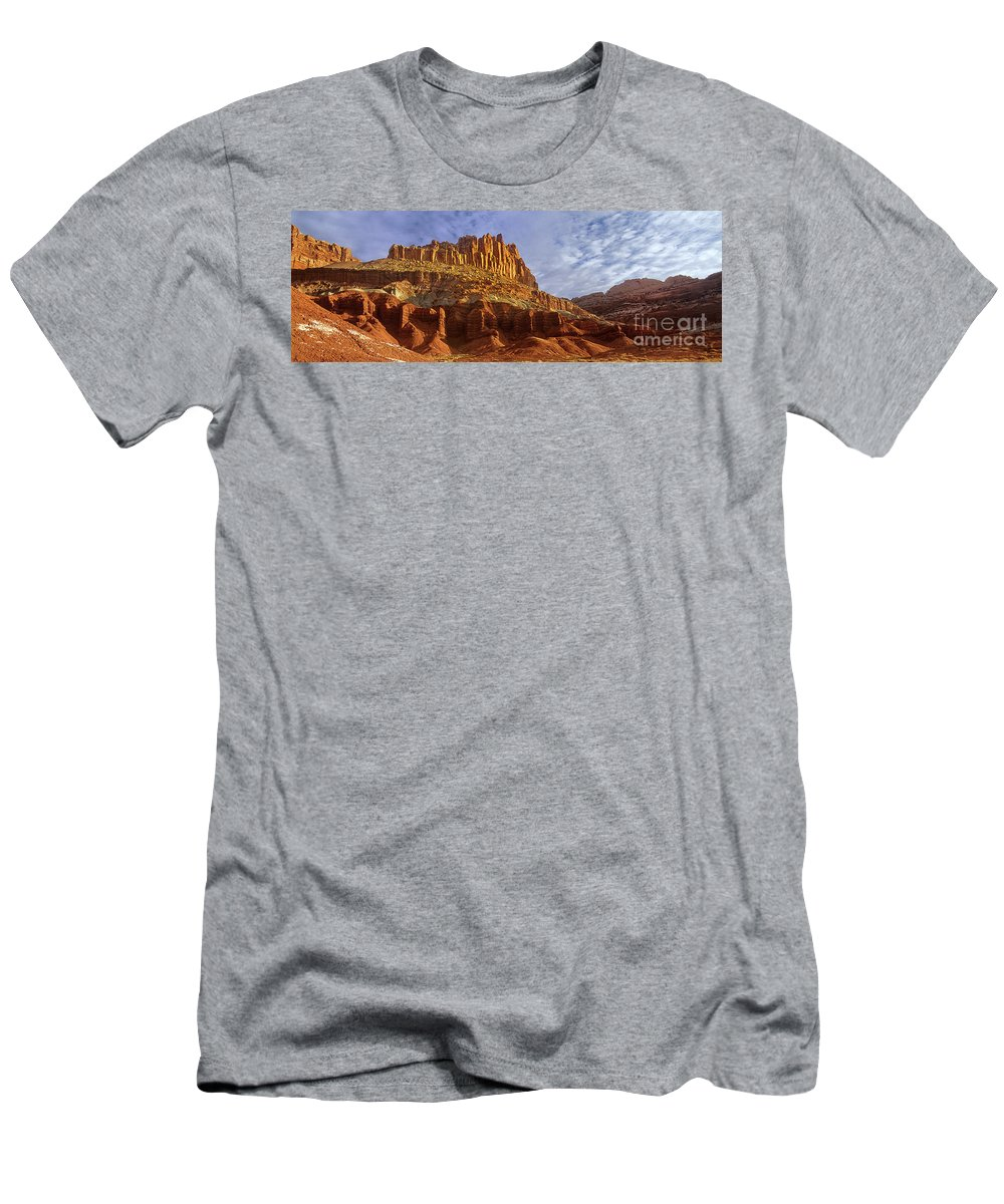 North America Men's T-Shirt (Athletic Fit) featuring the photograph Panorama The Castle On A Cloudy Morning Capitol Reef National Park by Dave Welling