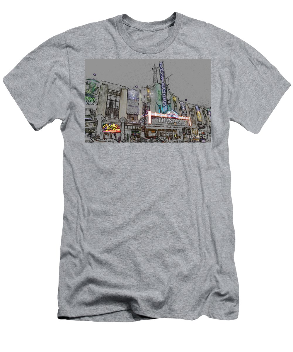 Pantages Theater Men's T-Shirt (Athletic Fit) featuring the digital art Pantages Theater Hollywood by Tommy Anderson