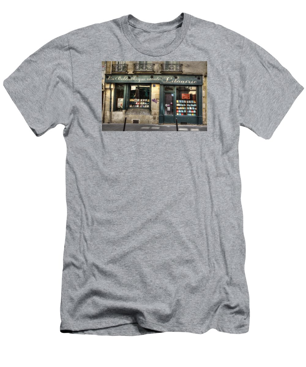 Paris Men's T-Shirt (Athletic Fit) featuring the photograph Paris France Book Store Library by Toby McGuire