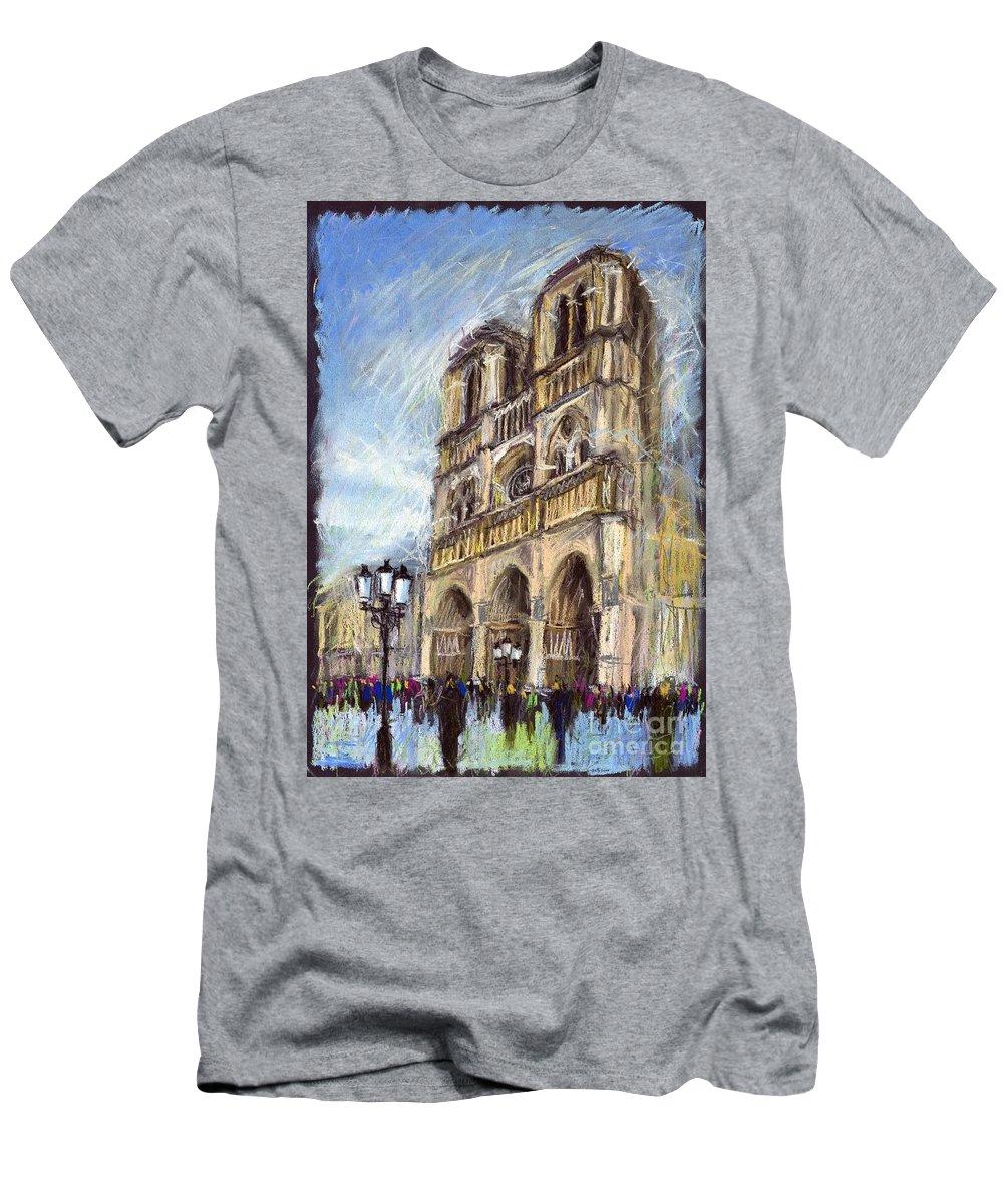 Cityscape Men's T-Shirt (Athletic Fit) featuring the pastel Paris Notre-dame De Paris by Yuriy Shevchuk