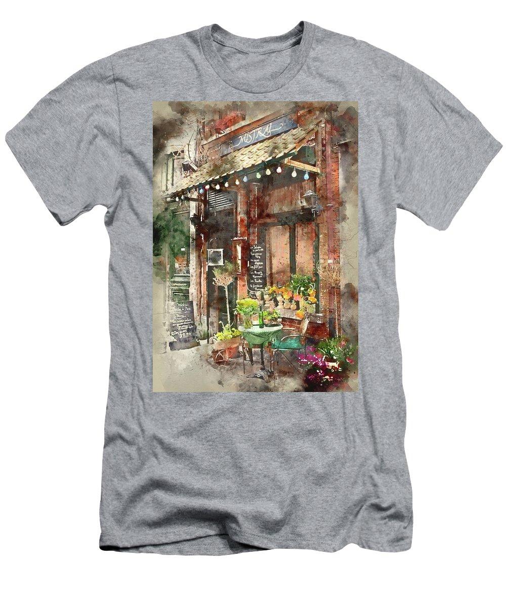 Paris Men's T-Shirt (Athletic Fit) featuring the painting Paris Restaurant 5 - By Diana Van by Diana Van