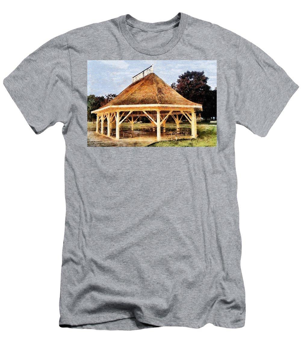 Park Men's T-Shirt (Athletic Fit) featuring the digital art Park Gazebo by JGracey Stinson
