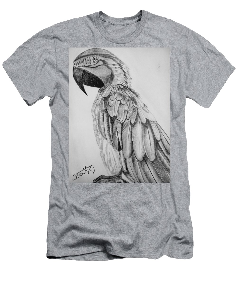Men's T-Shirt (Athletic Fit) featuring the drawing Parrot by Anirudh Maheshwari