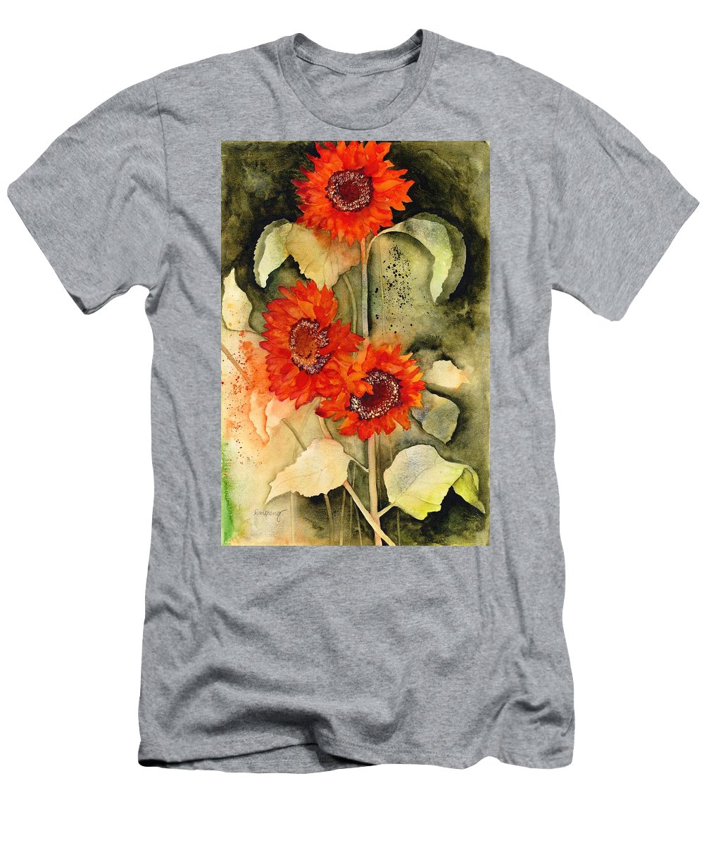 Red Sunflowers Men's T-Shirt (Athletic Fit) featuring the painting Passion, Energy, And Joy by Robin Moreng