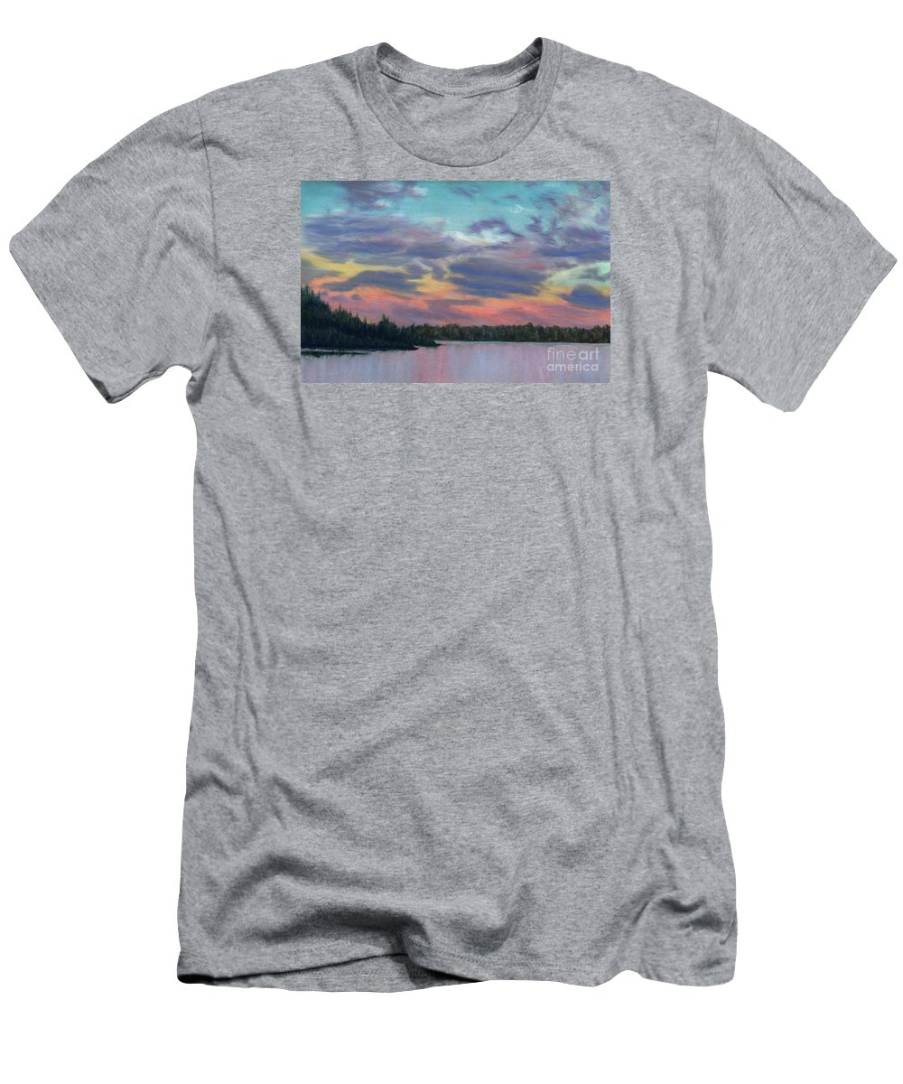 Landscape Men's T-Shirt (Athletic Fit) featuring the painting Pastel Sunset by Lynn Quinn