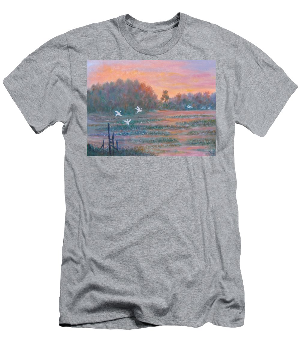 Low Country; Egrets; Sunset Men's T-Shirt (Athletic Fit) featuring the painting Pawleys Island by Ben Kiger