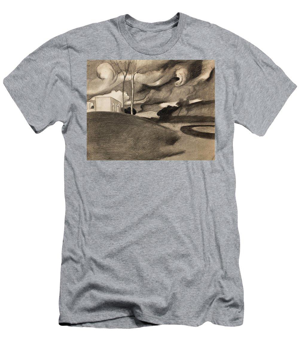 Juan Gonzalez Pellicer Men's T-Shirt (Athletic Fit) featuring the painting Paysage Aux Lourdes Nuages by MotionAge Designs