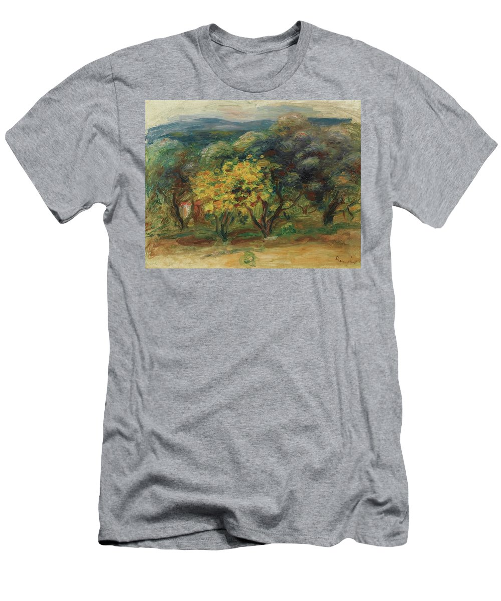 Pierre-auguste Renoir 1841 - 1919 Paysage � L'arbre Jaune Men's T-Shirt (Athletic Fit) featuring the painting Paysage Larbre Jaune by MotionAge Designs