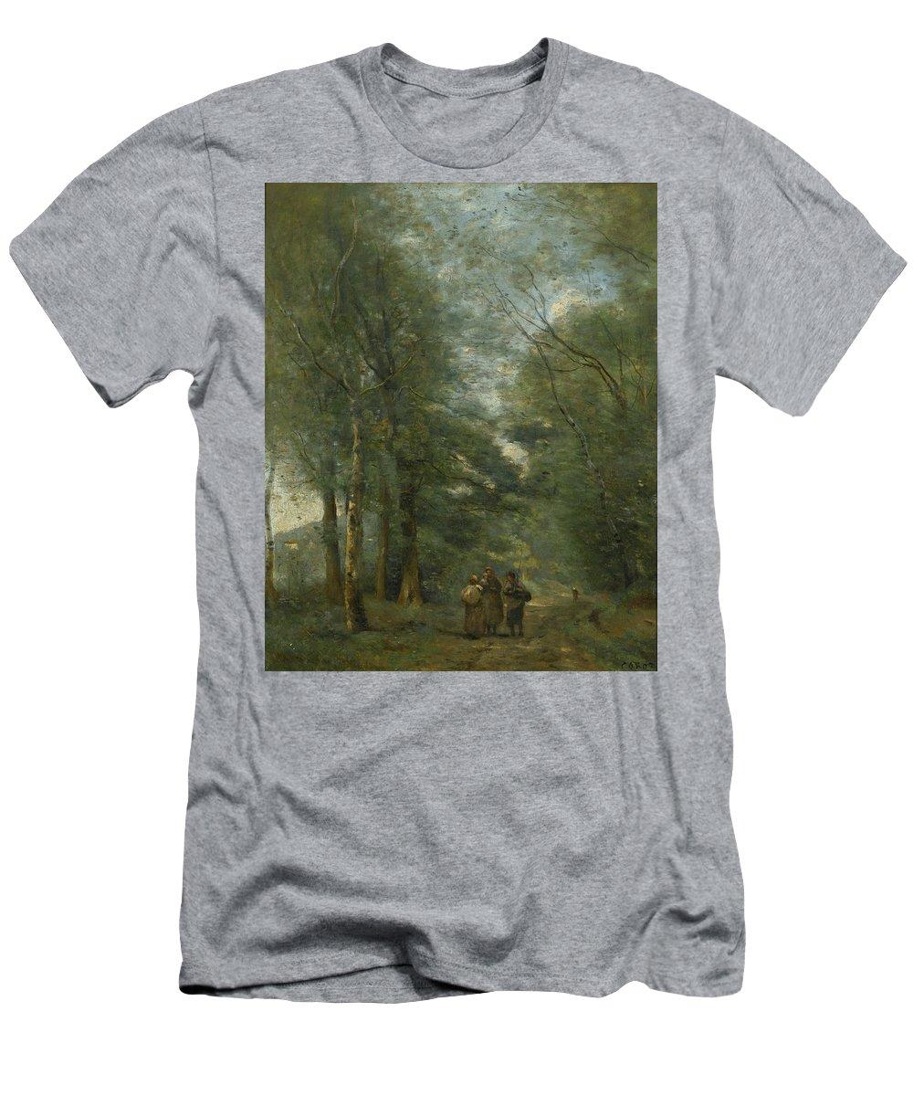 Ville D'avray Men's T-Shirt (Athletic Fit) featuring the painting Paysans Causant Sur Le Chemin Longeant by MotionAge Designs