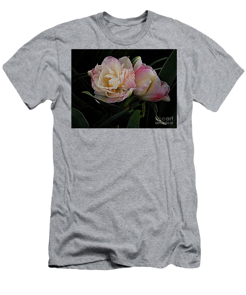 Photography Men's T-Shirt (Athletic Fit) featuring the photograph Pe0ny Tulip Duet 2 by Nancy Kane Chapman