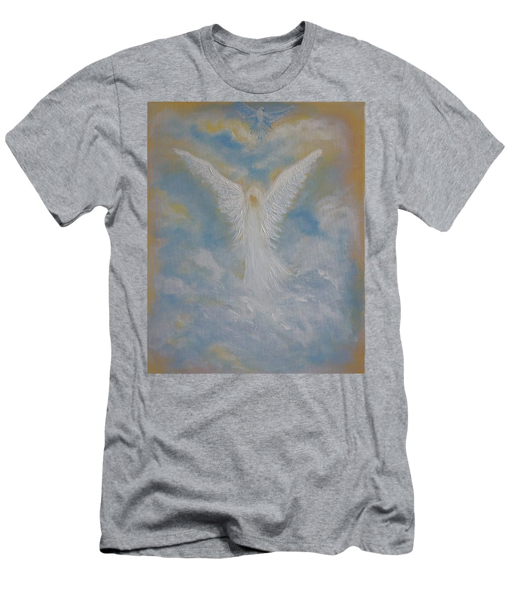Angel Men's T-Shirt (Athletic Fit) featuring the painting Peace From An Angel by Leslie Allen