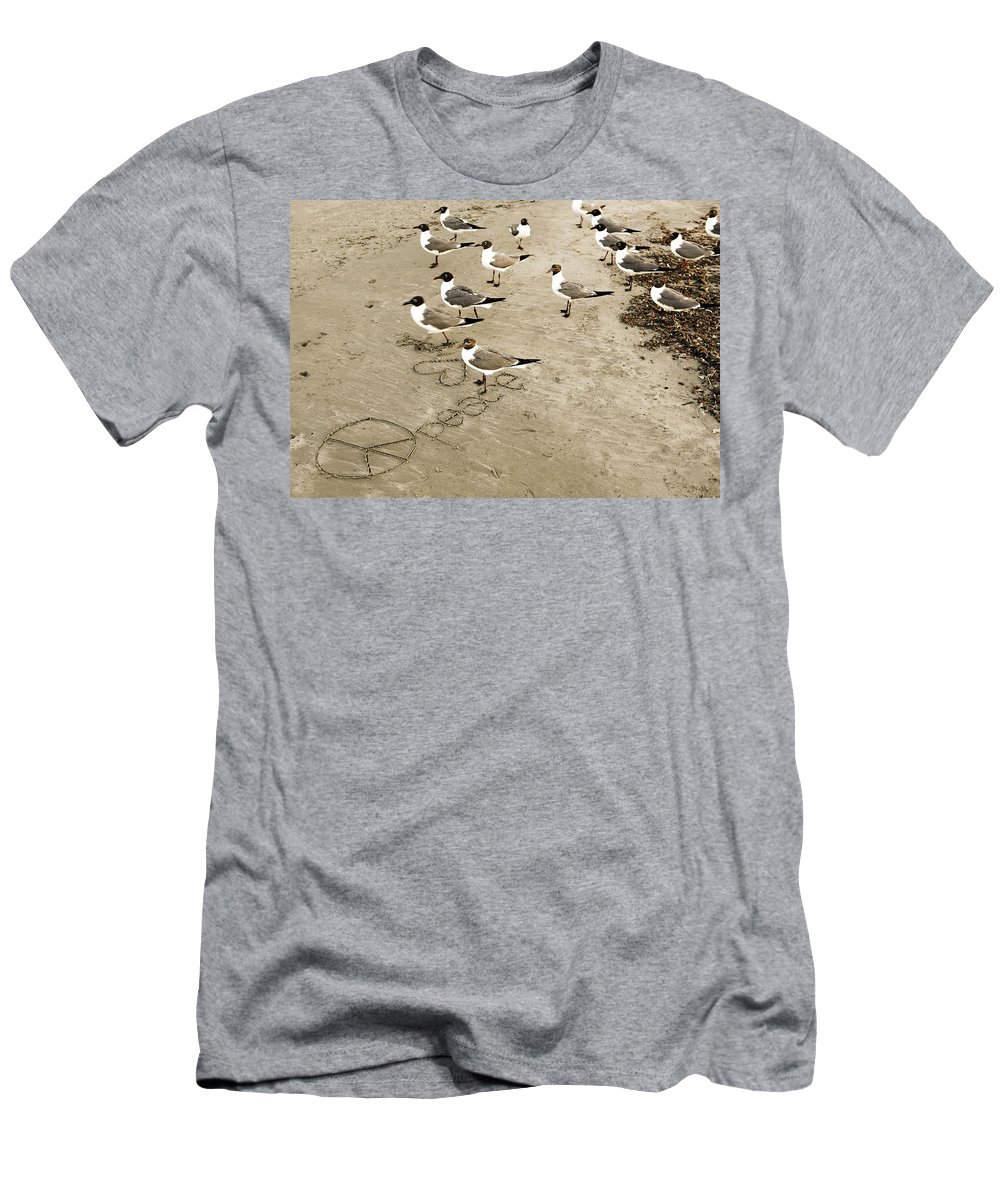 Americana Men's T-Shirt (Athletic Fit) featuring the photograph Peace On The Beach by Marilyn Hunt