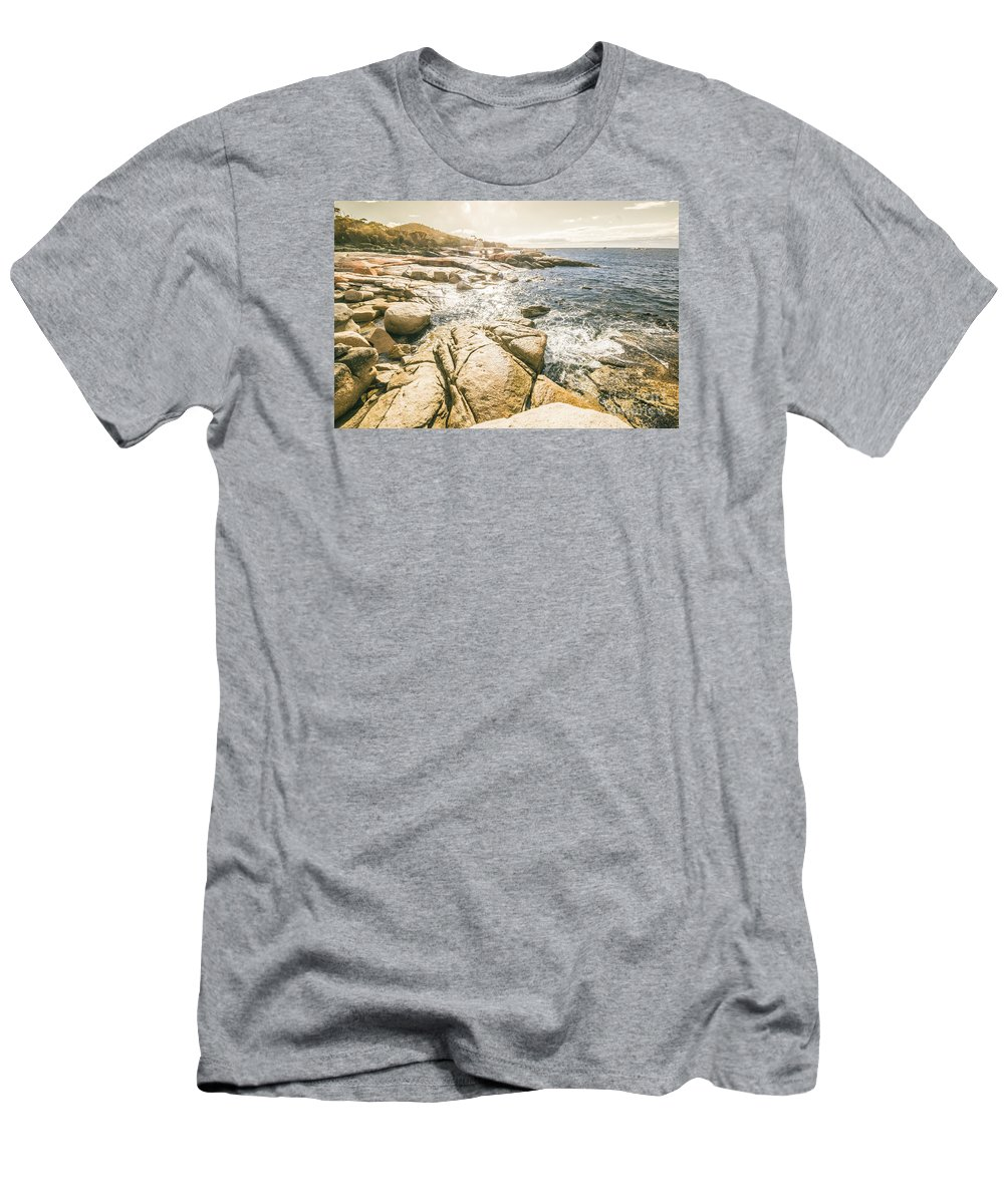 Coast Men's T-Shirt (Athletic Fit) featuring the photograph Peaceful Sun Flared Australian Coastline by Jorgo Photography - Wall Art Gallery