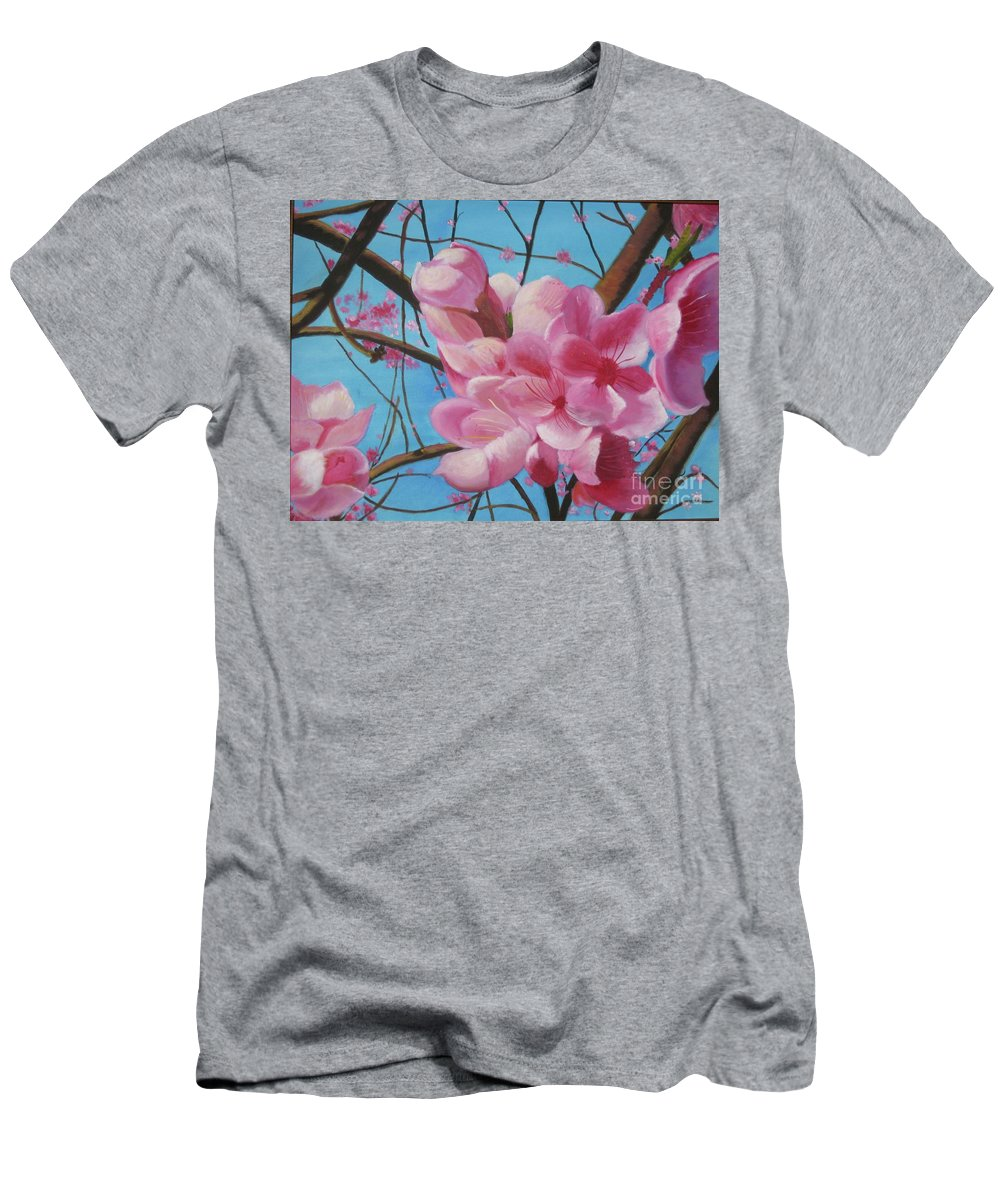 Flowers Men's T-Shirt (Athletic Fit) featuring the painting Peach Blossoms by Rebecca Jackson