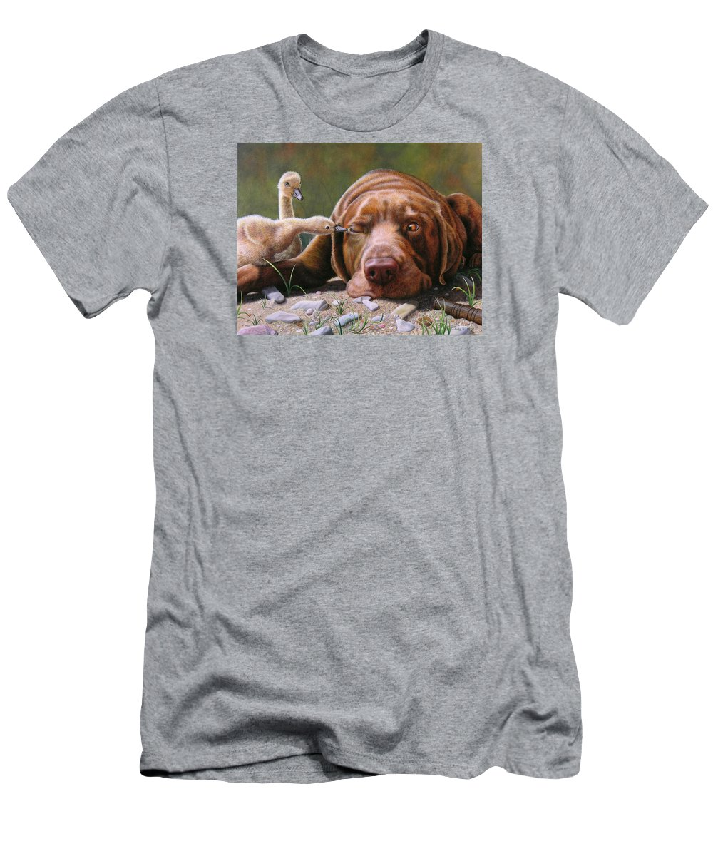 Labrador Men's T-Shirt (Athletic Fit) featuring the painting Pecking Order by Judy Schrader
