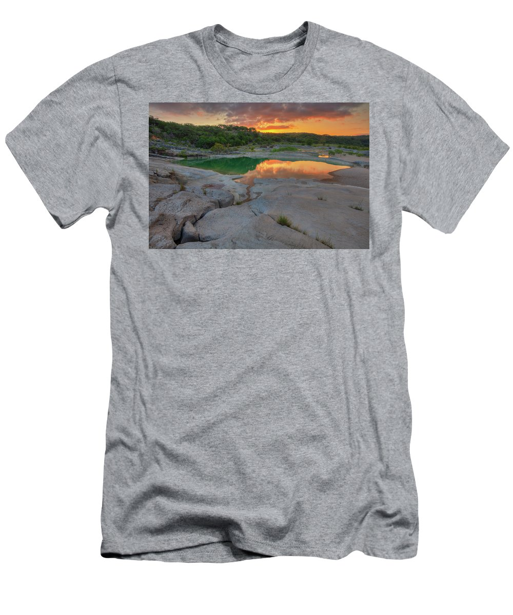 Water Men's T-Shirt (Athletic Fit) featuring the photograph Pedernales River Sunrise, Texas Hill Country 8257 by Rob Greebon