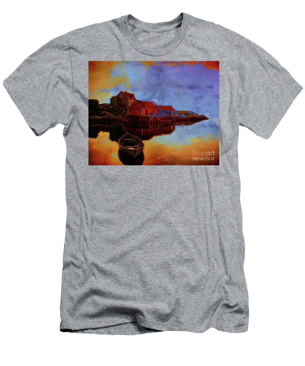 Nag004625 Men's T-Shirt (Athletic Fit) featuring the digital art Peggy's Cove by Edmund Nagele