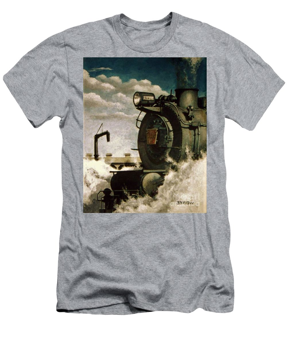 Pennsylvania Railroad Prr Train Painting Railroad Maryland And Pennsylvania Autumn Fall Colors Steam Engine T-Shirt featuring the painting Pennsy M1 by David Mittner