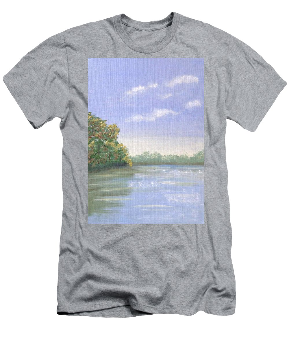 Landscape Men's T-Shirt (Athletic Fit) featuring the painting Percuil River, Cornwall by Barbara Magor