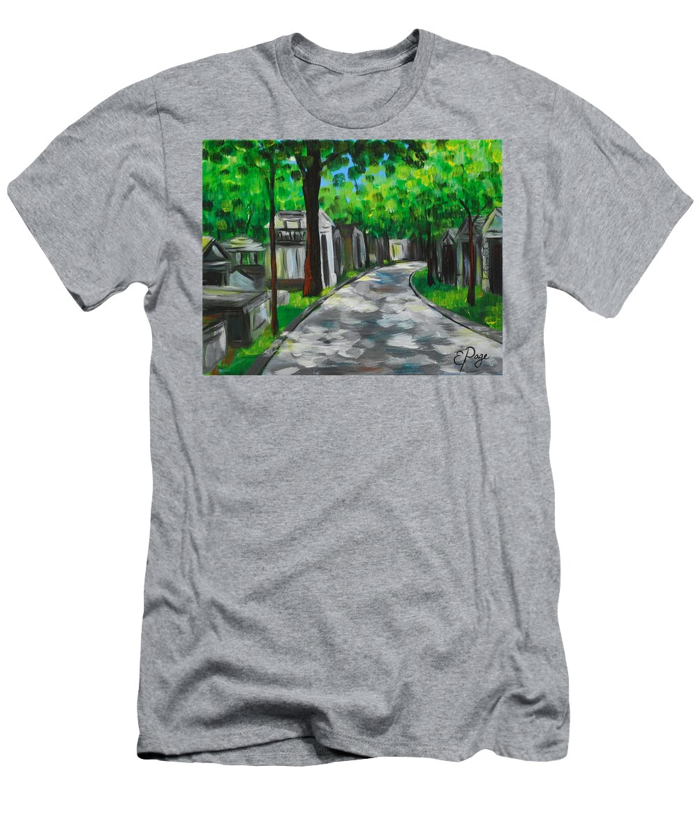 Paris Men's T-Shirt (Athletic Fit) featuring the painting Pere Lachaise Cemetery by Emily Page