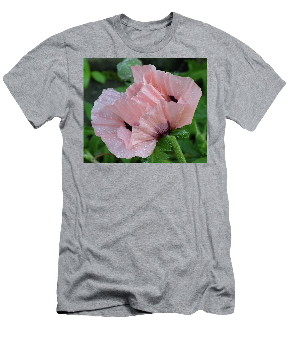 Flower Men's T-Shirt (Athletic Fit) featuring the photograph Perfect Peach Poppy by Shirley Heyn