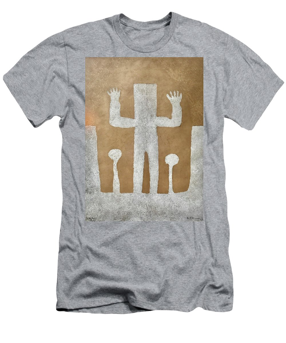 Rufino Tamayo Men's T-Shirt (Athletic Fit) featuring the mixed media Personnage With Two Trees by Rufino Tamayo