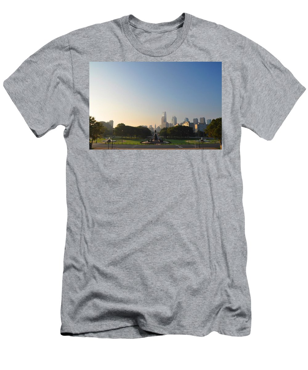 Eakins Oval Men's T-Shirt (Athletic Fit) featuring the photograph Philadelphia Across Eakins Oval by Bill Cannon