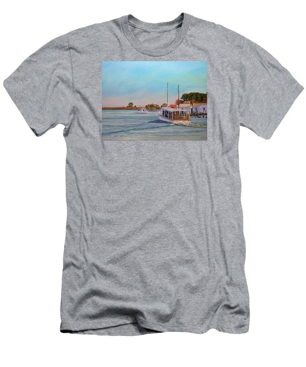 Tangier Island Men's T-Shirt (Athletic Fit) featuring the painting Picking Up Crab by Jerry Spangler