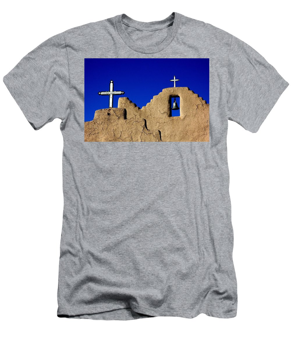 New Mexico Men's T-Shirt (Athletic Fit) featuring the photograph Picuras Pueblo Mission Belltower. by Spirit Vision Photography