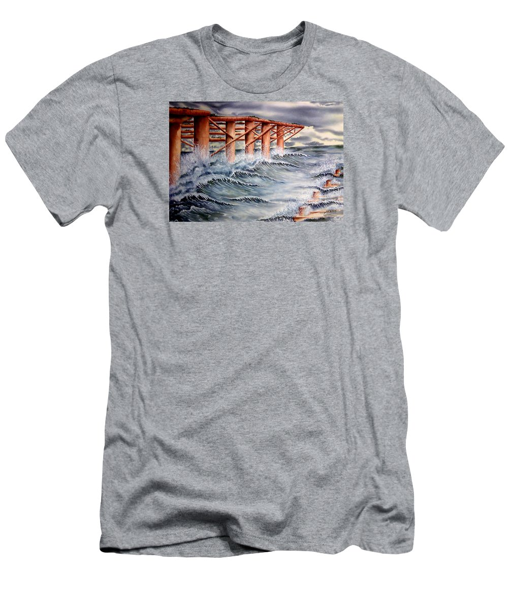 Seascape Men's T-Shirt (Athletic Fit) featuring the painting Pier At Atlantic City by Ragon Steele