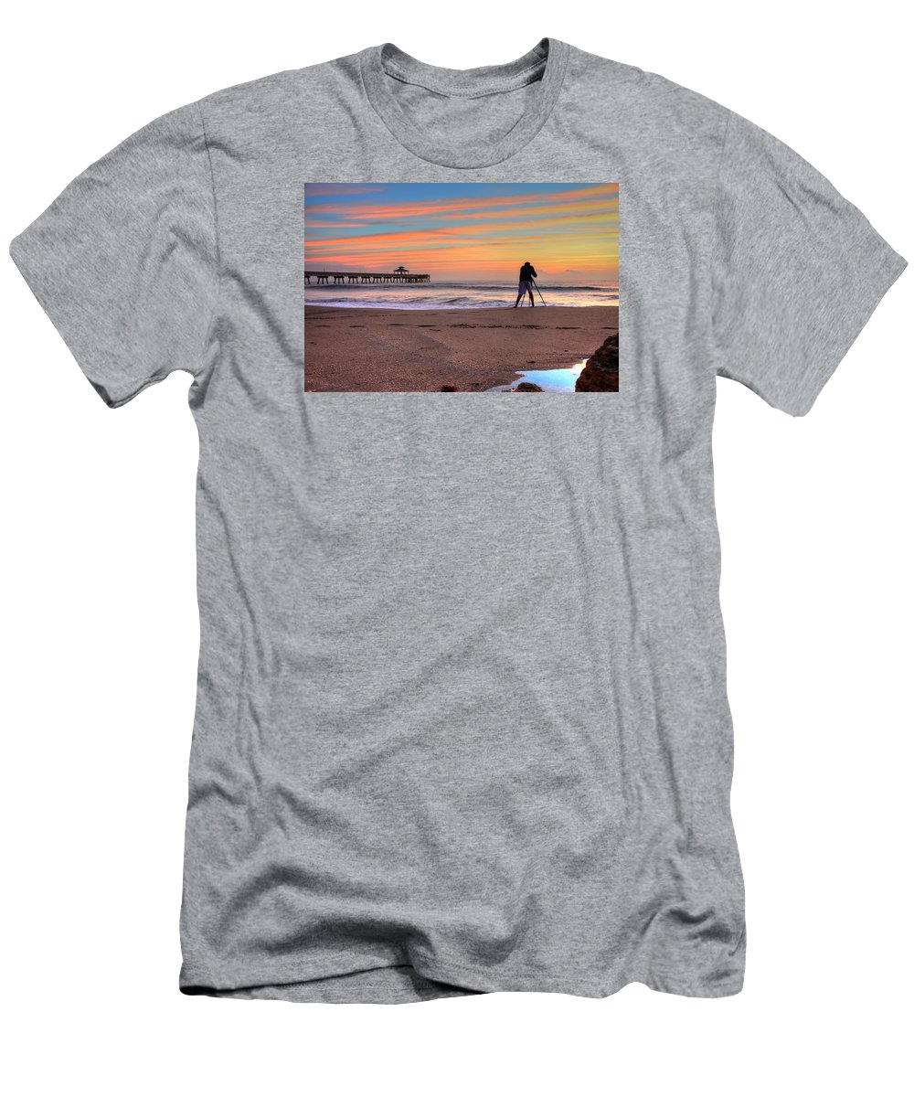 Sea Men's T-Shirt (Athletic Fit) featuring the photograph Pier Portrait Photographer by William Teed