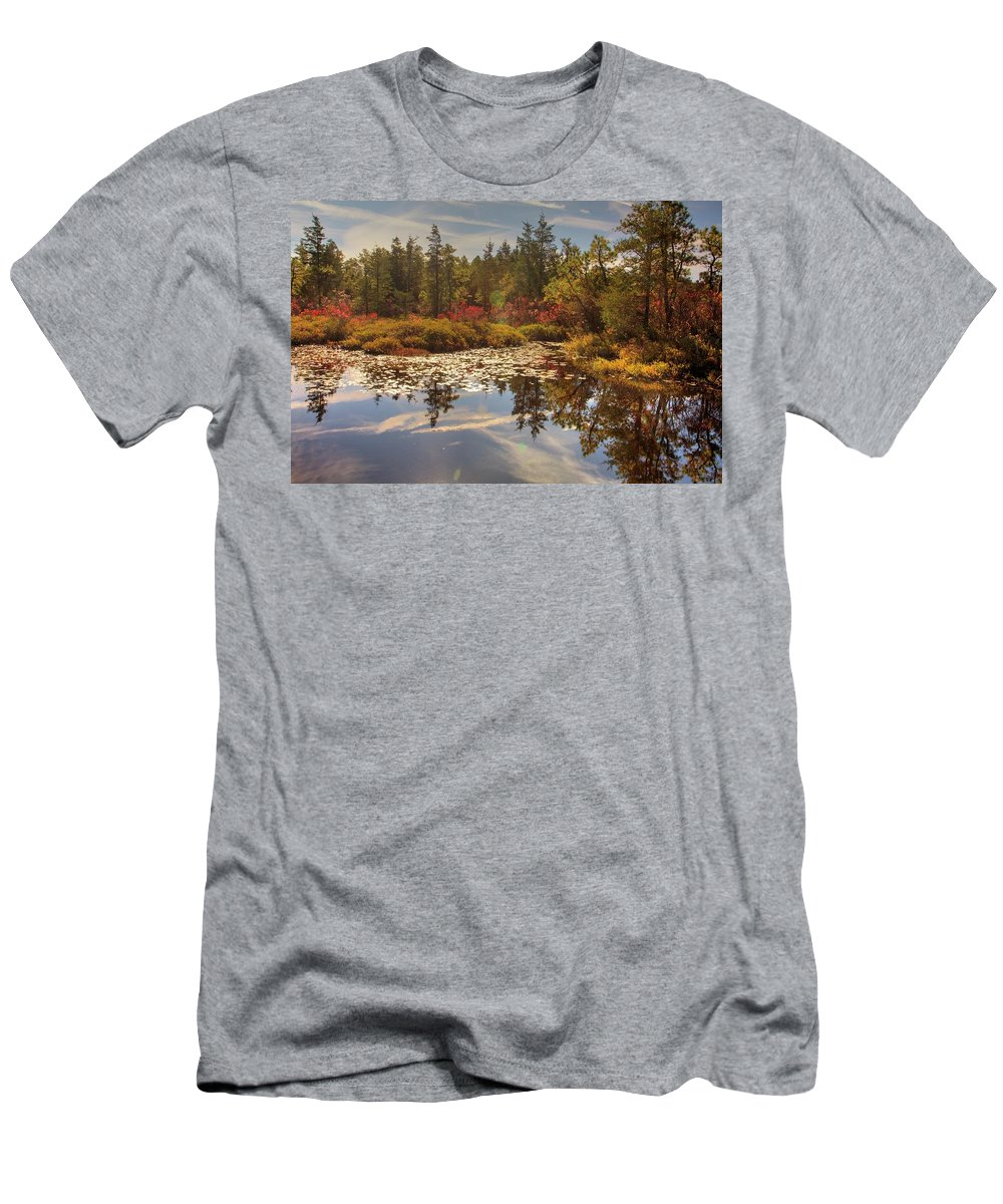 Recent Men's T-Shirt (Athletic Fit) featuring the photograph Pine Barrens New Jersey Whitesbog Nj by Geraldine Scull