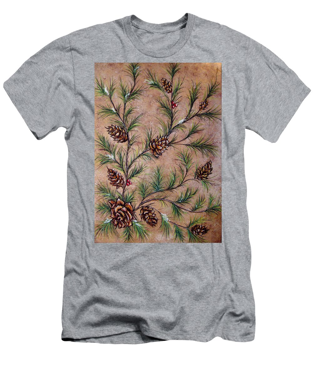 Acrylic Men's T-Shirt (Athletic Fit) featuring the painting Pine Cones And Spruce Branches by Nancy Mueller