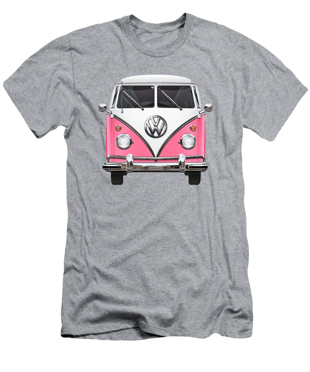 'volkswagen Type 2' Collection By Serge Averbukh T-Shirt featuring the photograph Pink and White Volkswagen T 1 Samba Bus on Yellow by Serge Averbukh