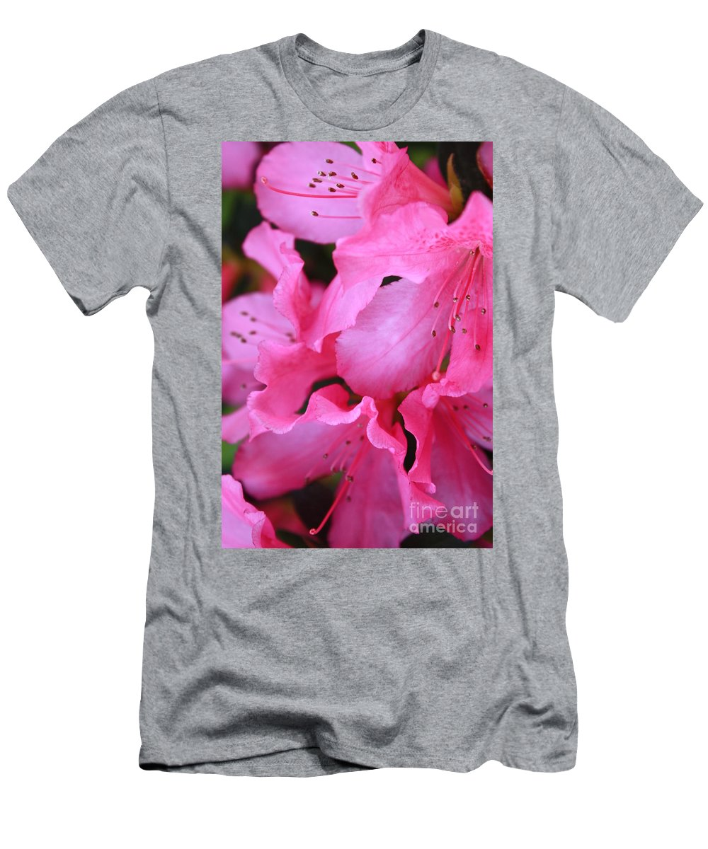 Pink Azaleas Men's T-Shirt (Athletic Fit) featuring the photograph Pink Azalea Drama by Carol Groenen