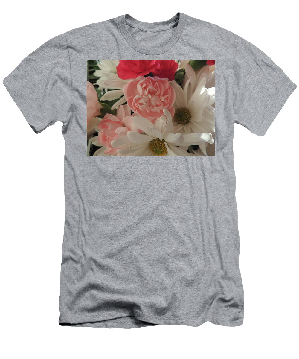 White Daisies Men's T-Shirt (Athletic Fit) featuring the photograph Pink Baby by Traci Hallstrom