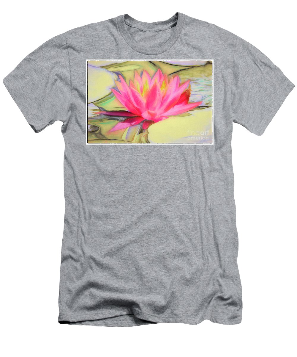 Lotus Men's T-Shirt (Athletic Fit) featuring the photograph Pink by Edita De Lima