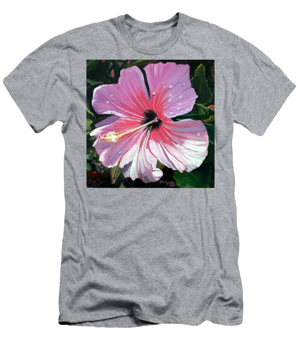Pink Men's T-Shirt (Athletic Fit) featuring the painting Pink Hibiscus With Raindrops by Marionette Taboniar