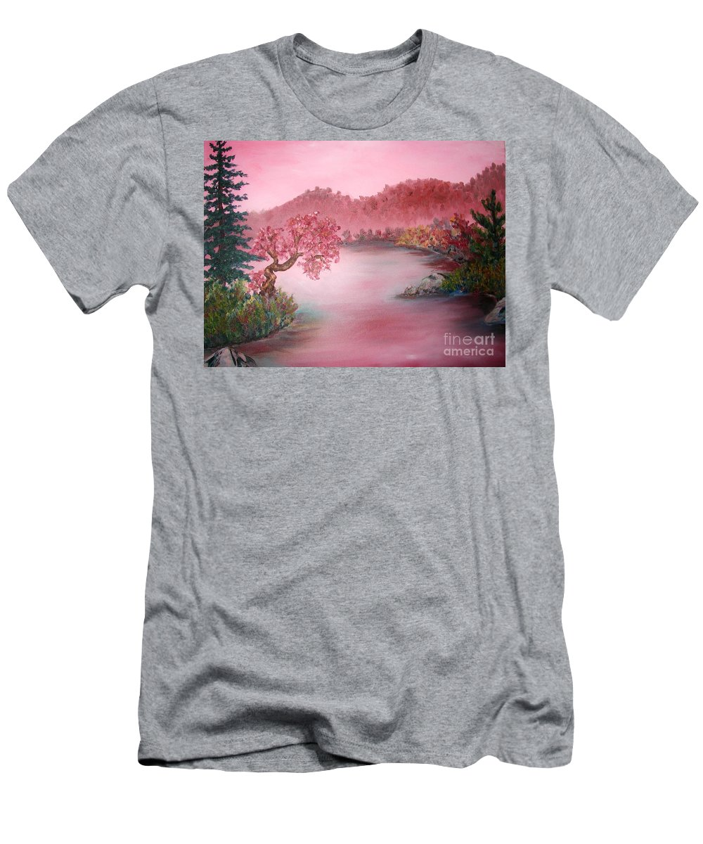Lake Men's T-Shirt (Athletic Fit) featuring the painting Pink Lake by Emily Michaud