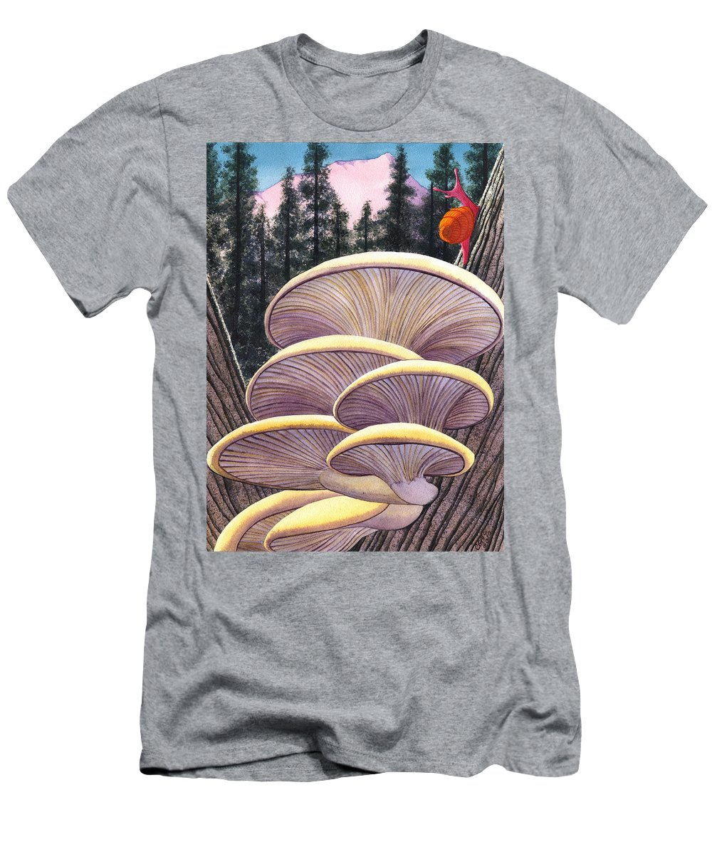 Mushrooms Men's T-Shirt (Athletic Fit) featuring the painting Pink Like Me by Catherine G McElroy