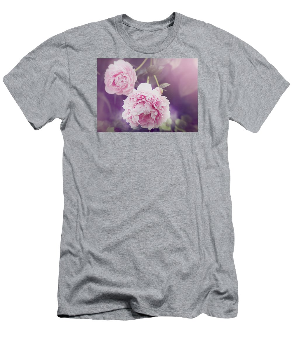 Pink Flowers Men's T-Shirt (Athletic Fit) featuring the photograph Pink Peonies by Bramblewood Studio