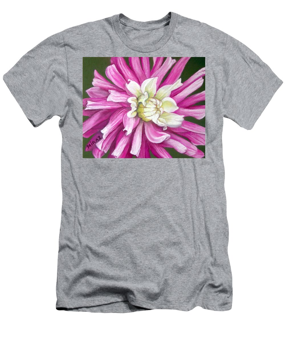 Floral Men's T-Shirt (Athletic Fit) featuring the painting Pink Petal Blast by Minaz Jantz