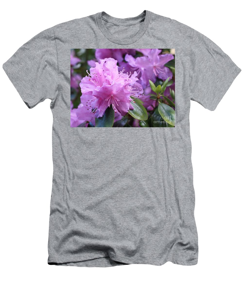 Flower Men's T-Shirt (Athletic Fit) featuring the photograph Light Purple Rhododendron With Leaves by Carol Groenen