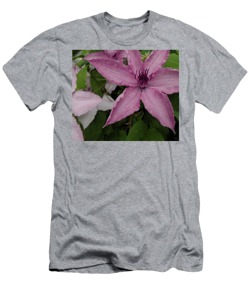 Clematis Men's T-Shirt (Athletic Fit) featuring the photograph Pinky Tuscadero by Trish Tritz