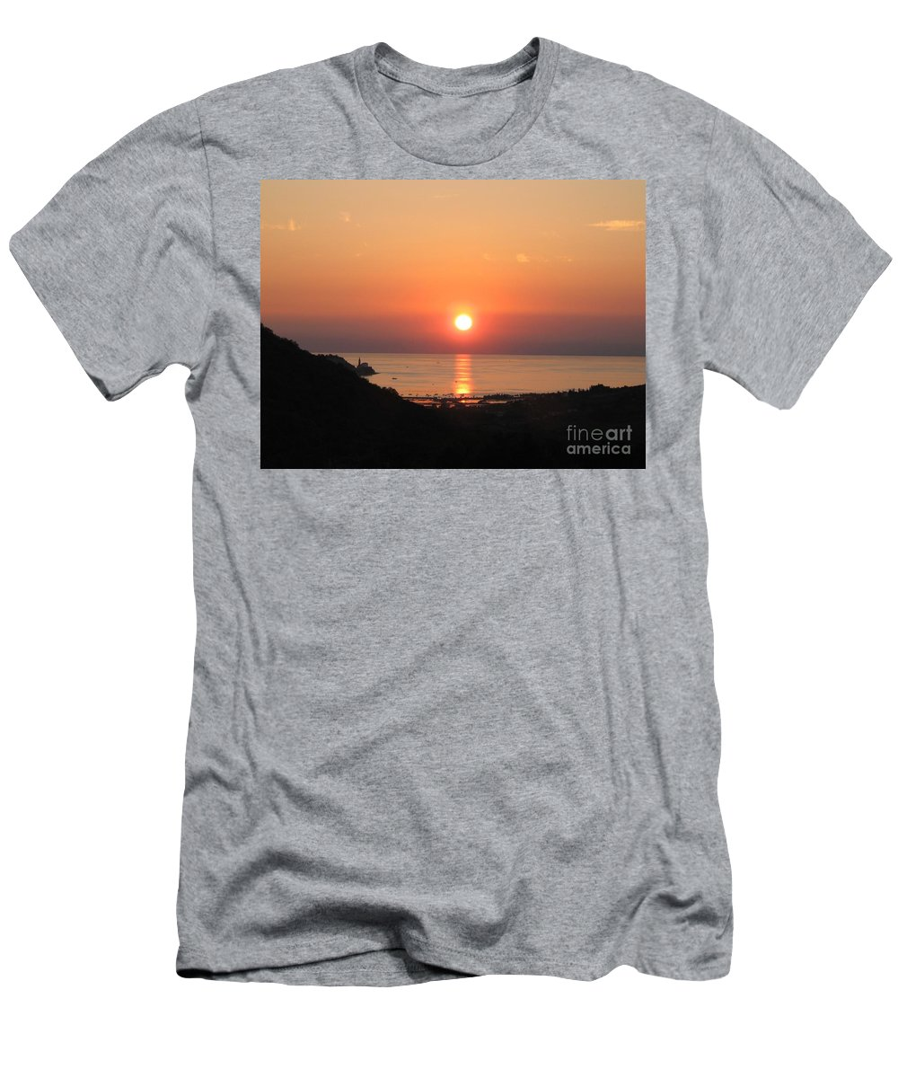 Sunset Sea Men's T-Shirt (Athletic Fit) featuring the photograph Piran's Sunset I by Dragica Micki Fortuna