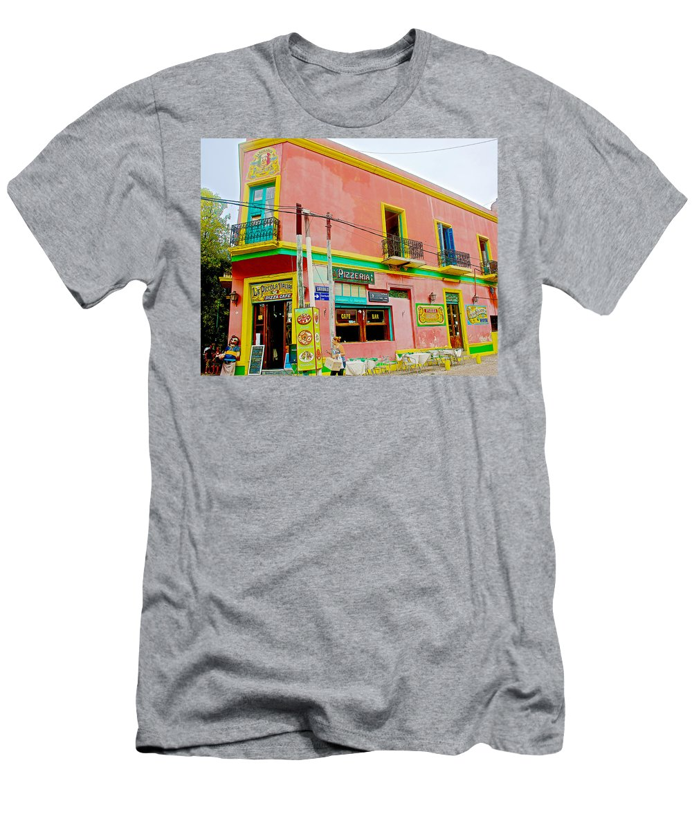 Pizzeria In La Boca Barrio In Buenos Aires Men's T-Shirt (Athletic Fit) featuring the photograph Pizzeria In La Boca Area Of Buenos Aires-argentina by Ruth Hager